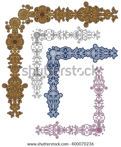 curly, frivolous corner ornament, with variations - stock vector