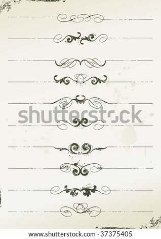 curly grunge page rules - stock vector