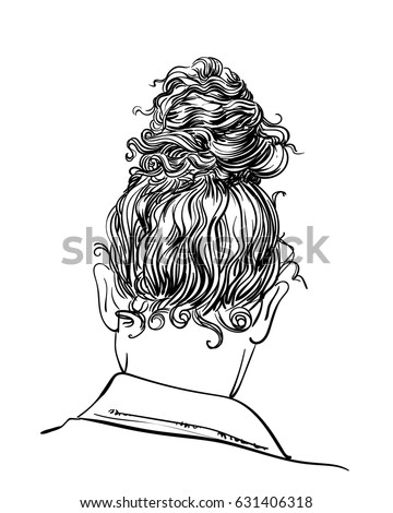 Curly Hair Bun Hairstyle Back View Stock Vector - Drawing a hairstyle