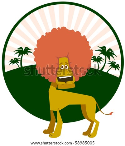 Curly lion against palm trees - stock vector