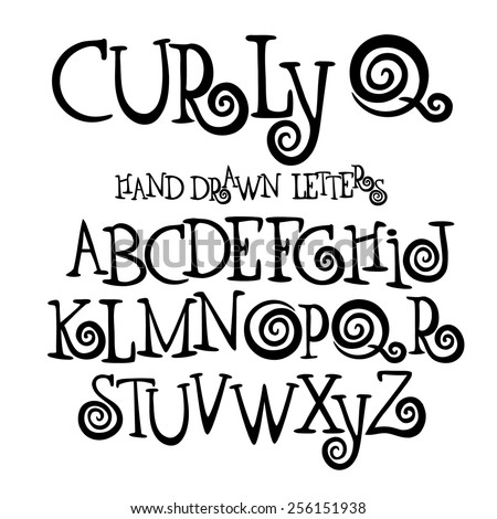 Curly Q Hand Drawn Font Alphabet Symbol Icon Letters A Through Z EPS 10 Royalty Free