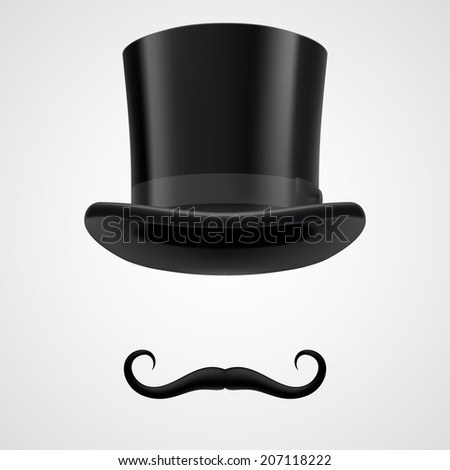curly retro moustaches and top hat elements. mysterious victorian aristocrat on grey bacground - stock vector