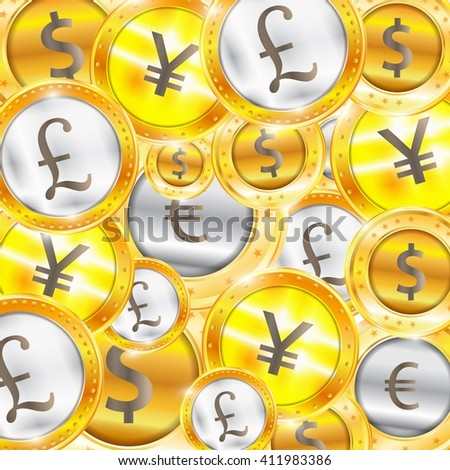 Currency, coins - the dollar - the euro - Pound - Yen. Vector illustration - stock vector