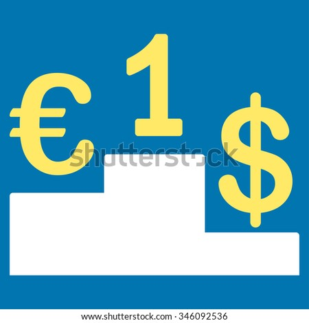 Currency Competition vector icon. Style is bicolor flat symbol, yellow and white colors, rounded angles, blue background.