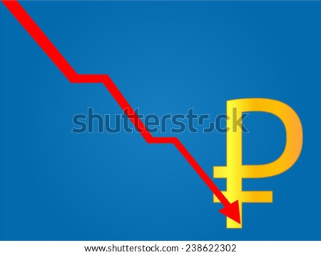 Currency Crisis Russian Ruble - stock vector