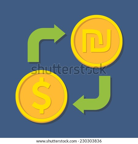 Currency exchange. Dollar and Shekel. Vector illustration - stock vector
