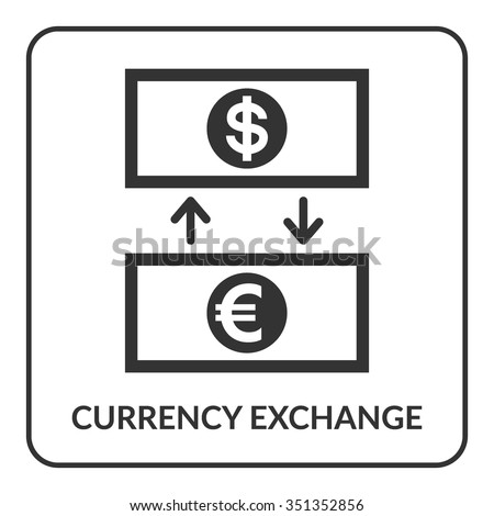 Currency Exchange icon. Rate of dollar and euro label, isolated on white background. Company logo design, business sign concept. Flat style. Symbol of money, finance, trade. Vector illustration - stock vector