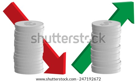 currency exchange rate, euro falling and dollar rising signs, coins with arrows, vector illustration - stock vector