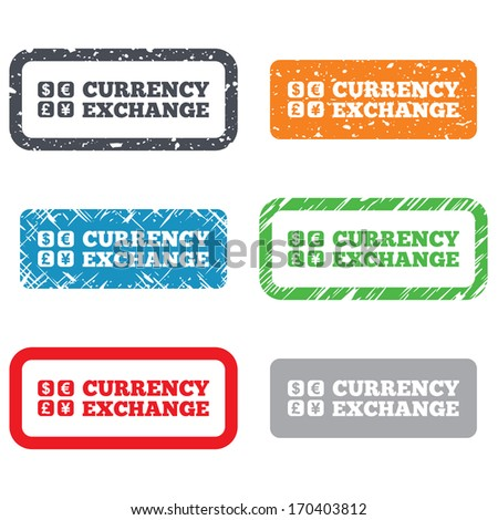 Currency exchange sign icon. Currency converter symbol. Money label. Retro Stamps and Badges. Vector