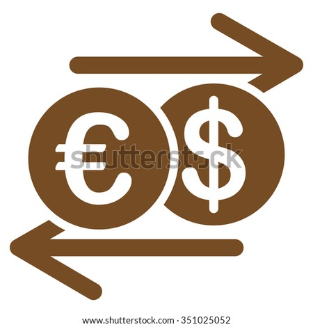 Currency Exchange vector icon. Style is flat symbol, brown color, rounded angles, white background.