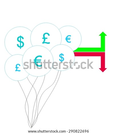 Currency fluctuation with dollar, euro and British pound symbols inside bubbles. Green and red arrow to indicate market price going up and down. Vector illustration. - stock vector