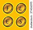 currency golden coins - stock vector