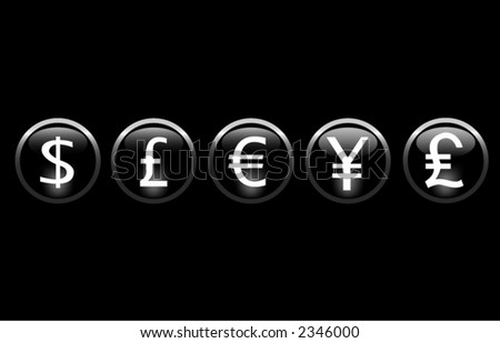 Currency icons. - stock vector