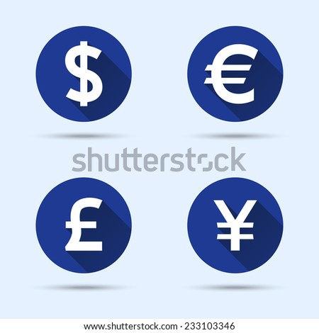 Currency icons. Dollar, euro, pound sterling, yen (or yuan). Vector illustration