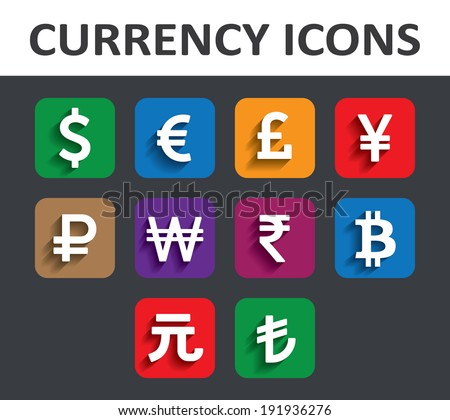 Currency Icons Set with shadow. Vector illustration. - stock vector