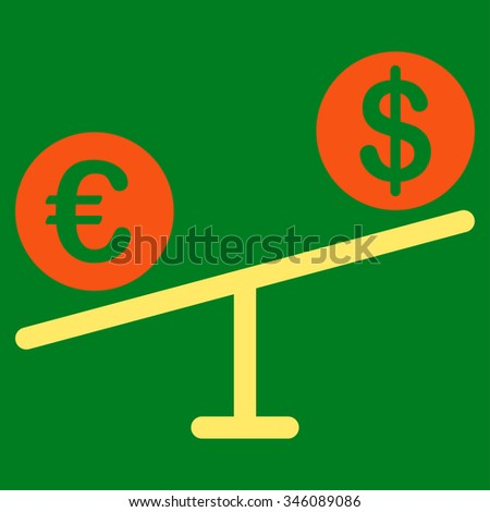 Currency Market vector icon. Style is bicolor flat symbol, orange and yellow colors, rounded angles, green background.