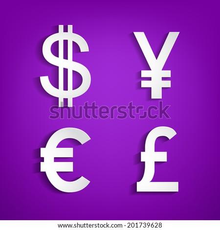 Currencymoney Symbols Symbols Dollareuroyen Pound On Stock Photo