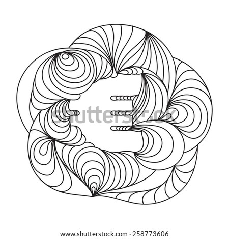 Currency sign. Euro. Black and White. - stock vector