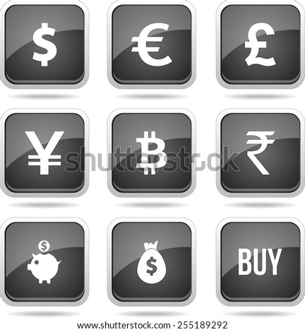 Currency Sign Square Vector Black Button Icon Design Set - stock vector