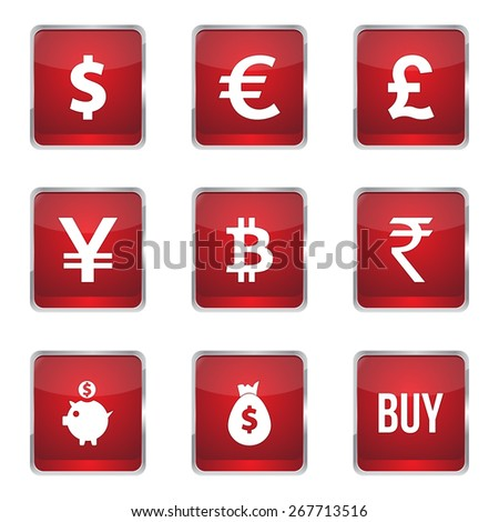 Currency Sign Square Vector Red Icon Design Set - stock vector
