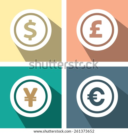 Currency symbols and money coins. Dollar, euro, yen and pound - stock vector