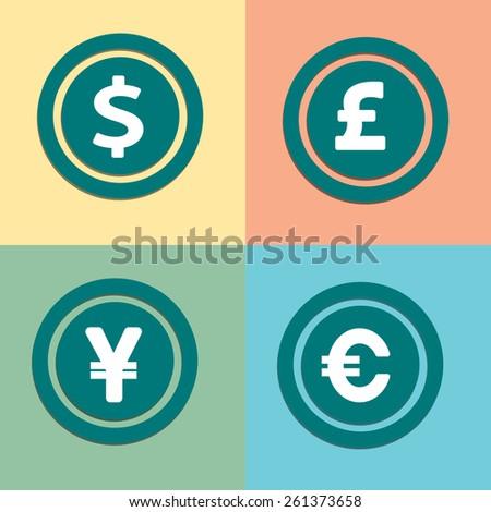 Currency Symbols Money Coins Dollar Euro Stock Vector 261373658