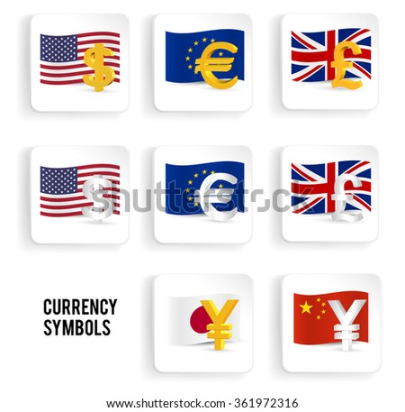 Currency symbols icon set: dollar, euro, pound, yuan, yen with flags. Vector illustration. - stock vector