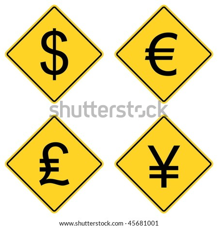 Currency Symbols on Road Signs - stock vector