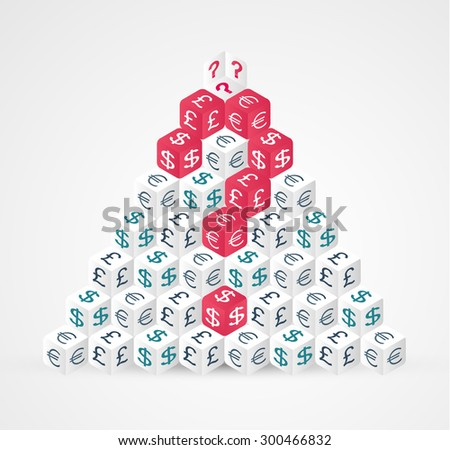 Currency symbols pyramid with question mark. Vector illustration. - stock vector