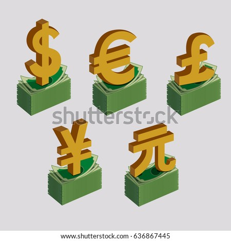Currency Symbols Signs Dollar Euro Pound Stock Vector 636867445