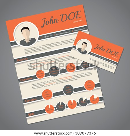 Curriculum vitae resume cv template design with business card - stock vector