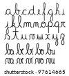 Cursive alphabet vector - stock vector