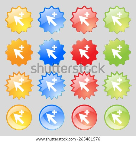 Cursor, arrow plus, add icon sign. Big set of 16 colorful modern buttons for your design. Vector illustration - stock vector