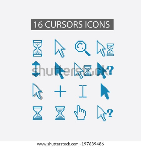 cursor elements, interface icons set, vector - stock vector