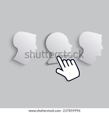 cursor hand icon chooses the woman among men - stock vector