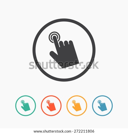 Cursor hand icon. Click sign pointer flat vector - stock vector