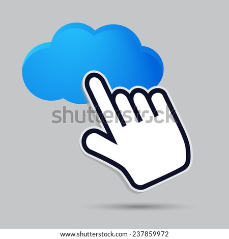 cursor hand icon presses on a cloud - stock vector