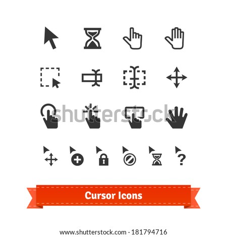 Cursor icons set. For web and multimedia. - stock vector
