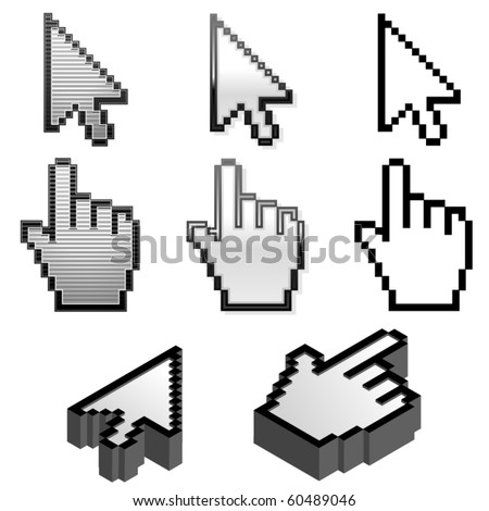 Cursor pointer collection in four different styles - stock vector