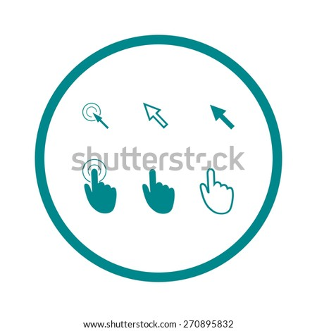 Cursor pointer icons. Mouse, hand, arrow. Click press and touch actions. Flat style.EPS 10. - stock vector