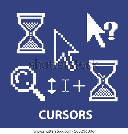 cursor, pointer interface icons set, vector - stock vector