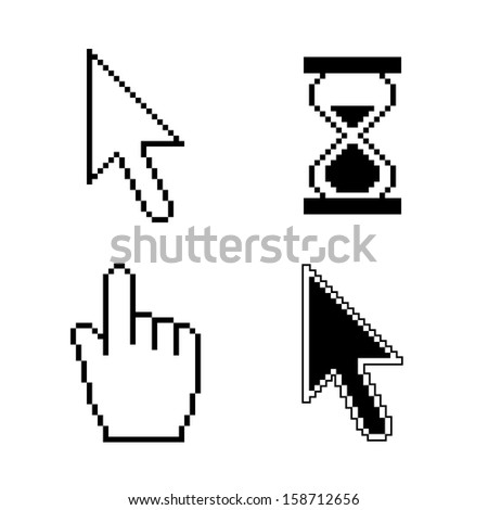 Cursor set - mouse hand arrow hourglass. Vector illustration