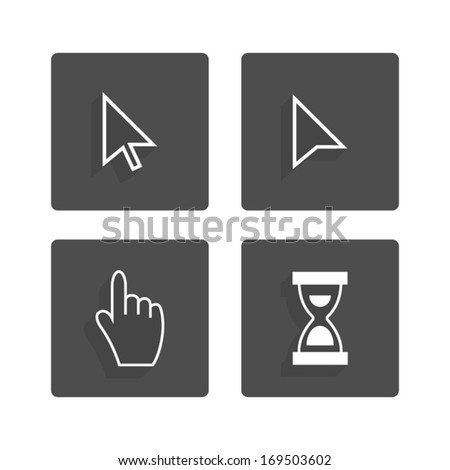 cursors flat icons - stock vector