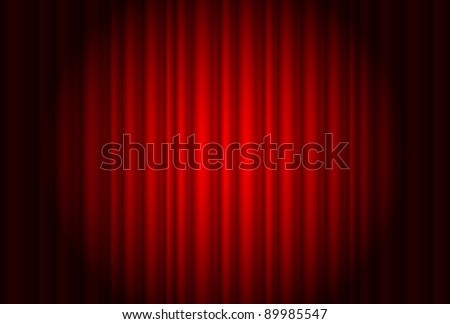 Curtain from the theatre with a spotlight. Illustration of the designer - stock vector
