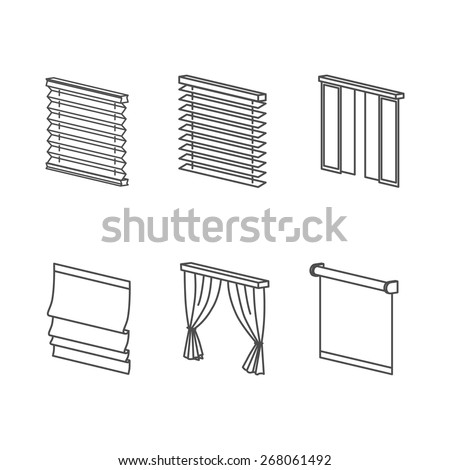 Curtain Types   Roll, Blind, Louvers, Jalousie. Clear Outline Icons Set.