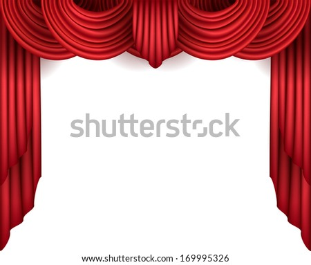 Curtain with a white background behind - stock vector