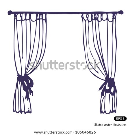 Curtains - stock vector