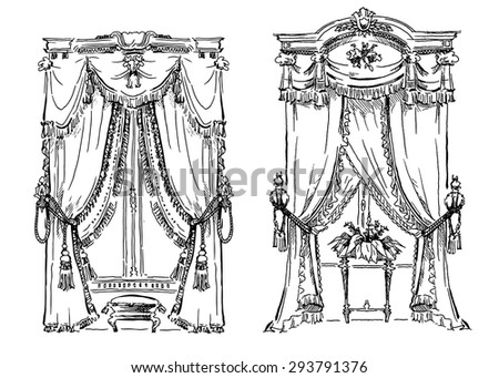 Curtains sketch. Cozy interior elements collection. Classic style drawing. - stock vector