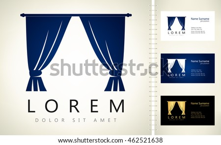Curtains vector design business card template stock vector curtains vector design with business card template editable reheart Image collections