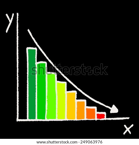 Curve graph with bar chart and color indicator, background illustration - stock vector
